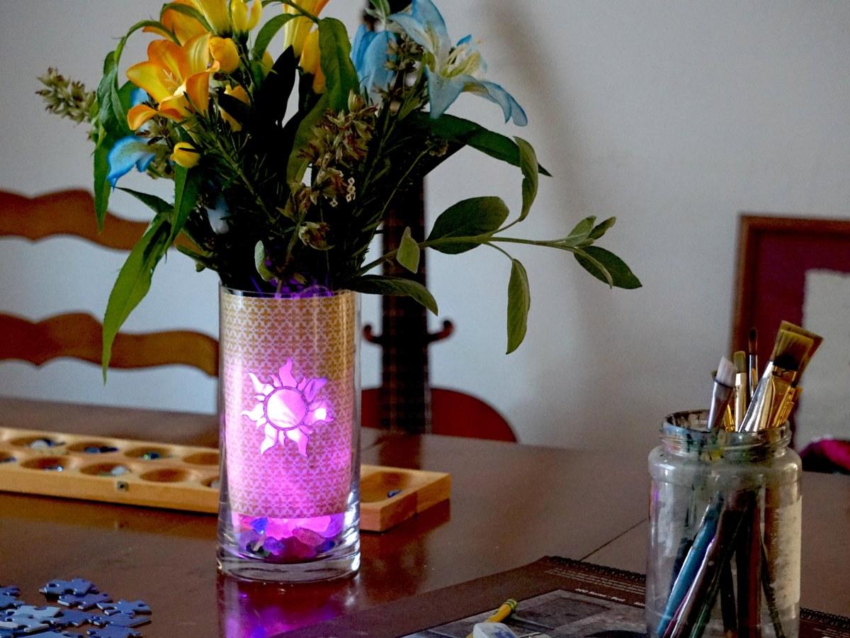 tangled rapunzel themed glowing vase