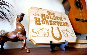 The Golden Horseshoe Disneyland Frontierland Saloon Sign